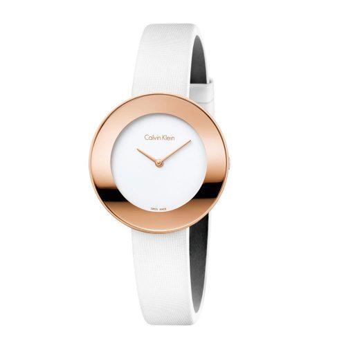 Reloj Calvin Klein Chic Po L Pvd5N Wht Satin Wht Dial K7N236K2