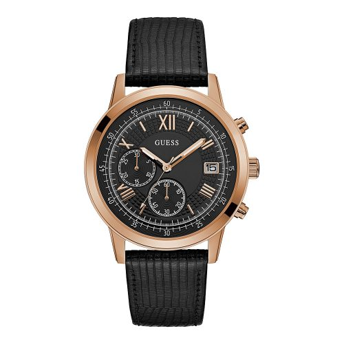 Reloj Guess Rose Gold Black Leather W1000G4